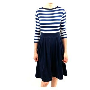 Navy and White, Fitted Midi Dress